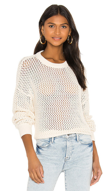 FRAME Open Knit Stripe Crew Sweater in White