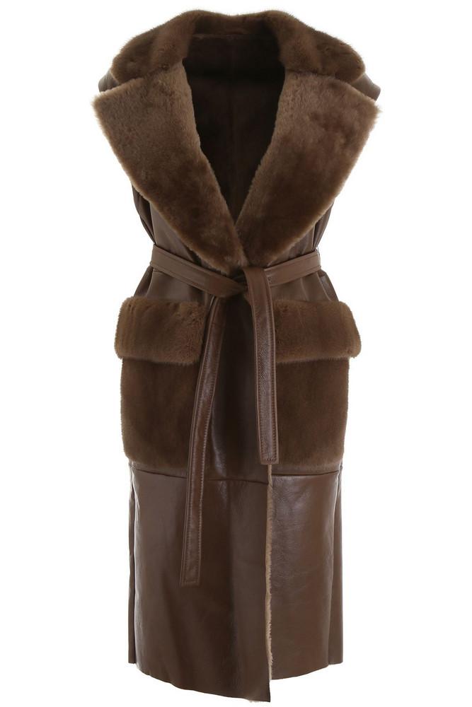 Blancha Long Vest in brown