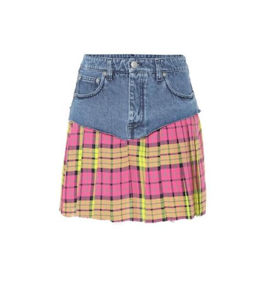 Vetements Denim and plaid miniskirt