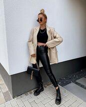 jacket,mens blazer,black leather pants,black boots,ysl bag,black top,crop tops
