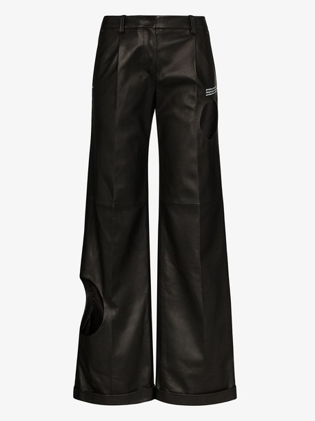 Off-White Hole detail leather trousers in black