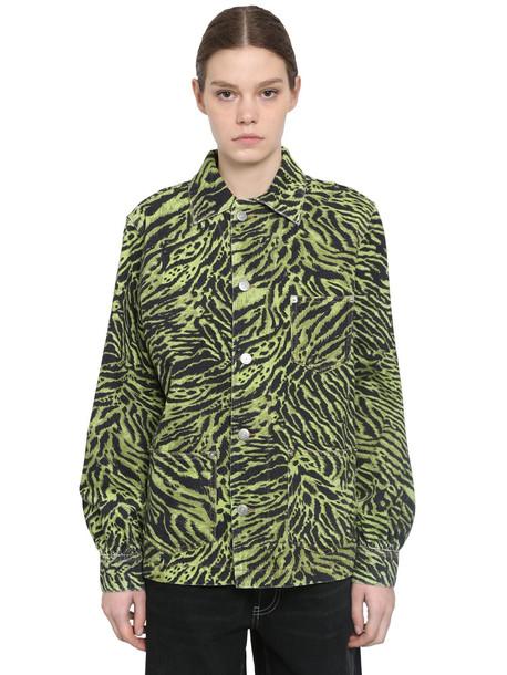 GANNI Animalier Printed Cotton Denim Jacket in green