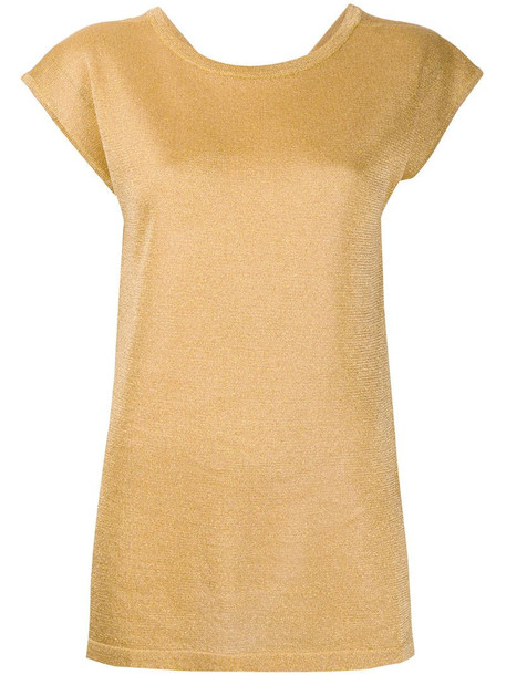 Missoni short-sleeve fitted jumper in yellow
