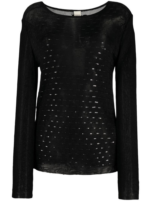 Gianfranco Ferré Pre-Owned 1990s boat neck openwork blouse in black