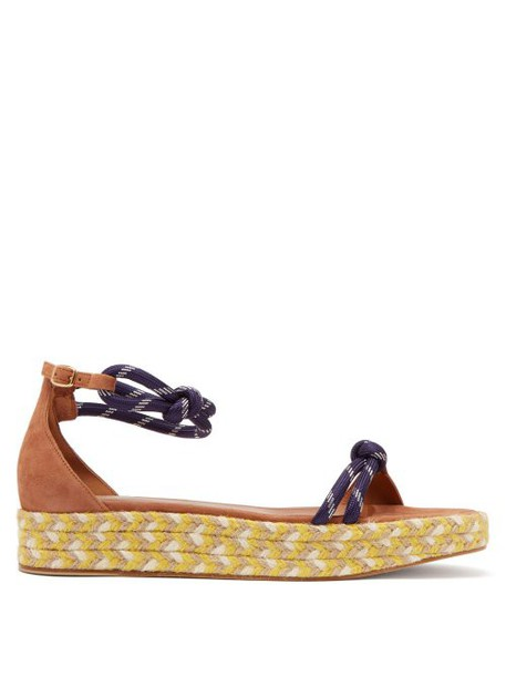 Malone Souliers - Simona Rope Strap Flatform Suede Sandals - Womens - Tan Navy