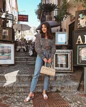 top,blouse,leopard print,straight jeans,flat sandals,shoulder bag