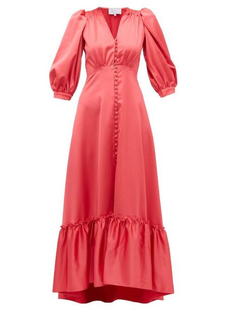 Luisa Beccaria - V Neck Puff Sleeved Gathered Satin Dress - Womens - Dark Pink