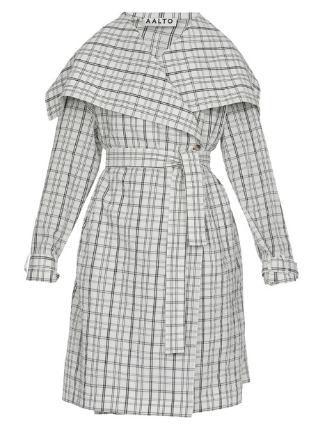 AALTO Check Patterned Overcoat in white
