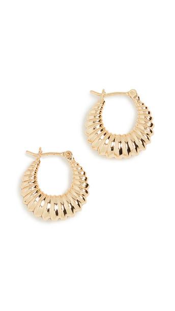 Loeffler Randall Monica Pleated Hoop Earrings in gold