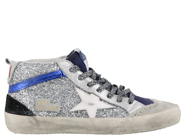 Golden Goose Mid Star Sneakers in silver