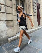 bag,crossbody bag,white sneakers,chanel bag,black top,sweater
