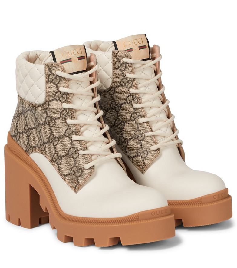 Gucci GG Supreme and leather ankle boots in beige