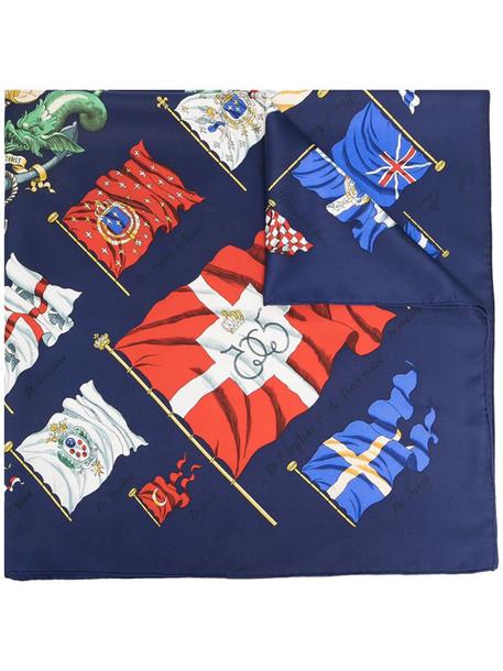 Hermès pre-owned Pavois silk scarf in blue