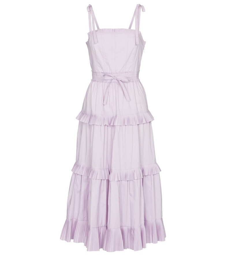 Ulla Johnson Lune tiered cotton midi dress in purple