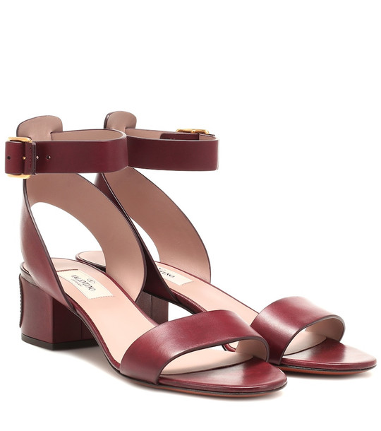 Valentino Garavani VLOGO leather sandals in brown