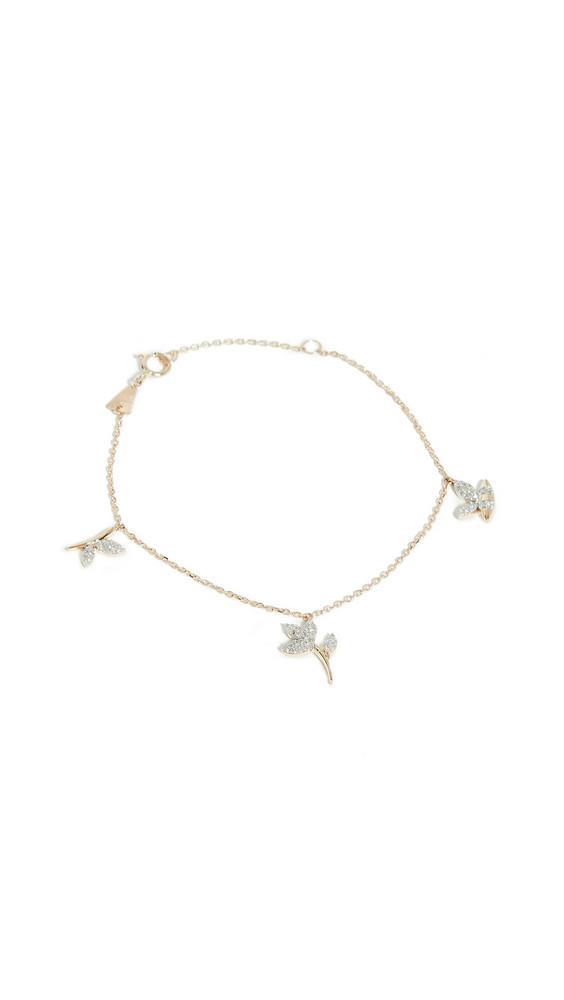 Adina Reyter 14k Garden Pavé 3 Charm Bracelet in gold / yellow