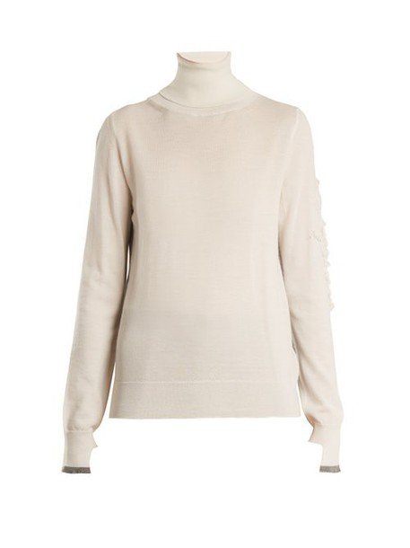Barrie - Thistle Roll Neck Contrast Panel Cashmere Sweater - Womens - Cream Multi
