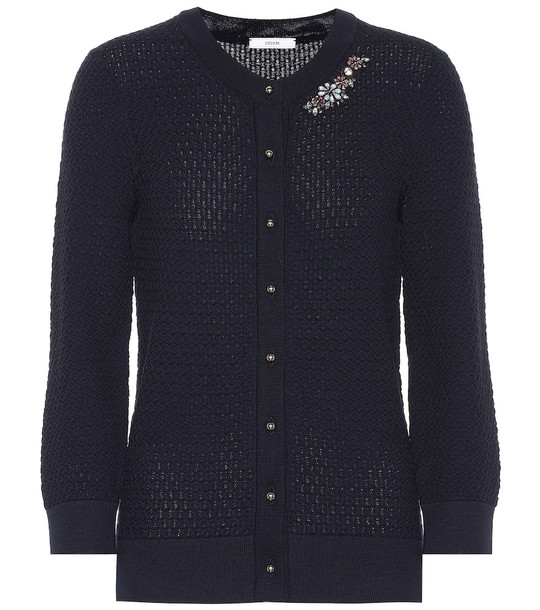Erdem Franklin embellished wool cardigan in blue