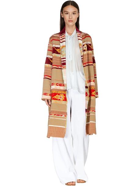 FORTE FORTE Belted Velvet Blend Jacquard Coat in beige