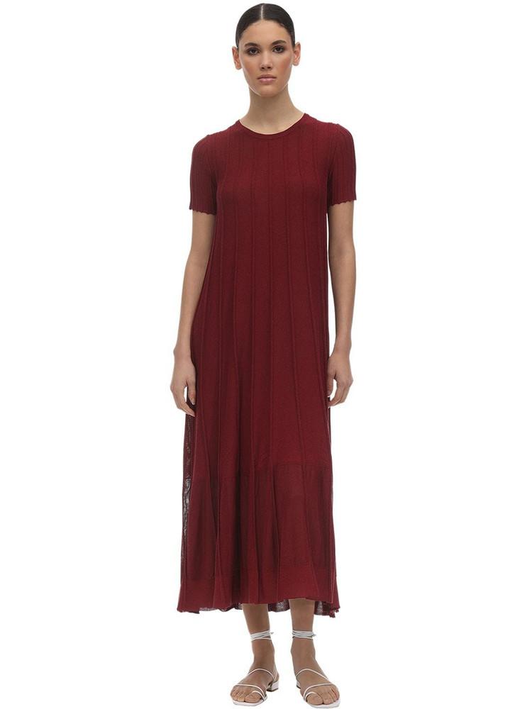 AGNONA Viscose & Cotton Knit Dress in red