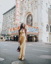 dress,maxi dress,gold dress,bucket bag