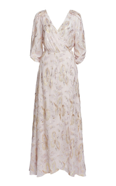 We Are Kindred Harlow Wrap Silk-Blend Maxi Dress in pink
