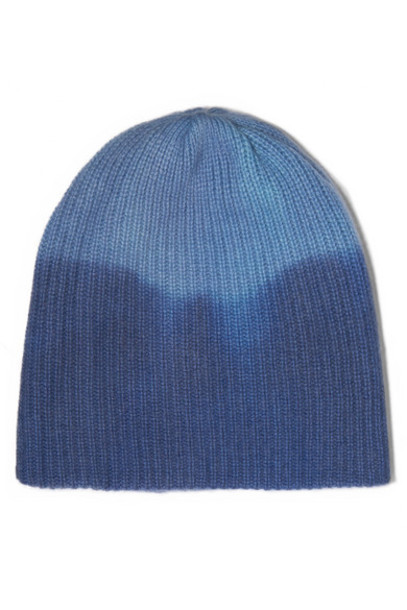 The Elder Statesman - Watchman Ribbed Tie-dyed Cashmere Beanie - Blue