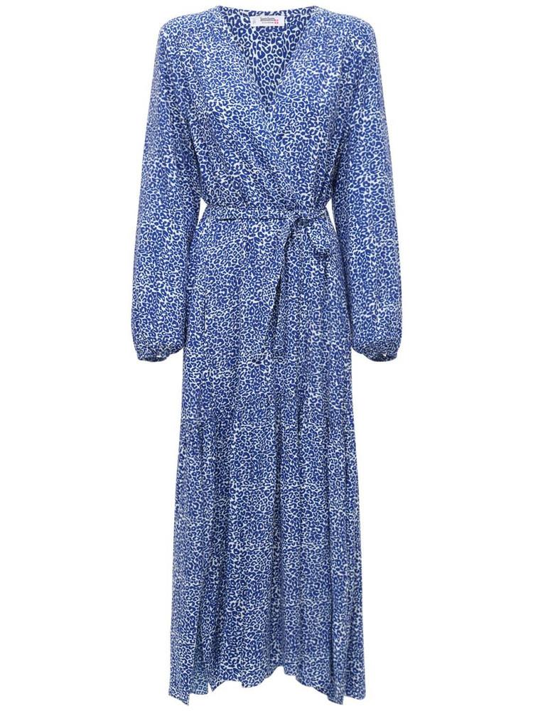LEMLEM Halima Printed Viscose Midi Robe Dress in blue / white