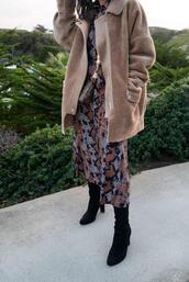 the fancy pants report,blogger,shirt,dress,coat,shoes,midi dress,boots,faux fur jacket,winter outfits