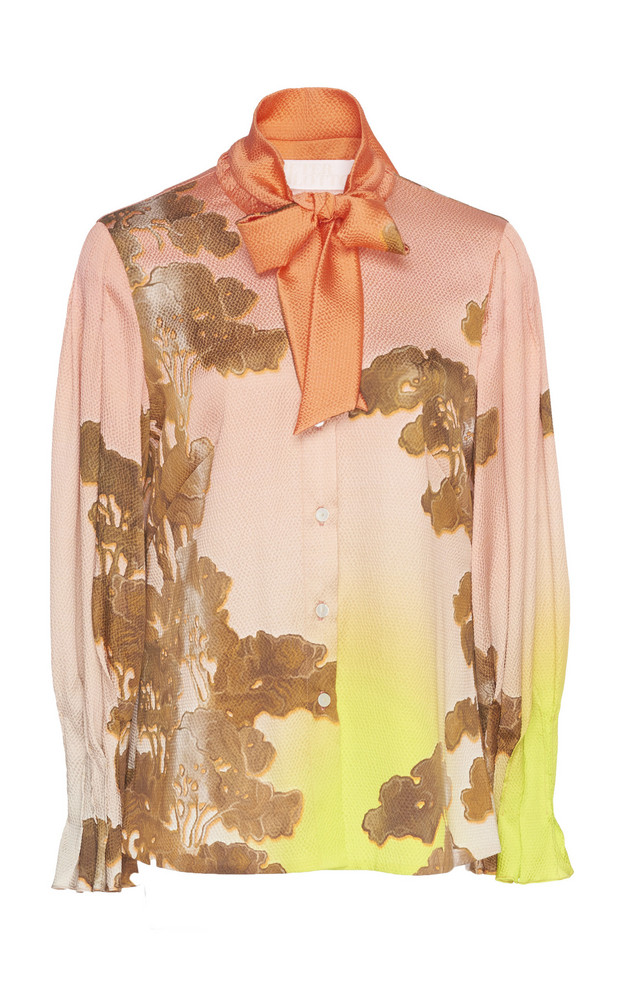Peter Pilotto Silk-Blend Tie Blouse in pink