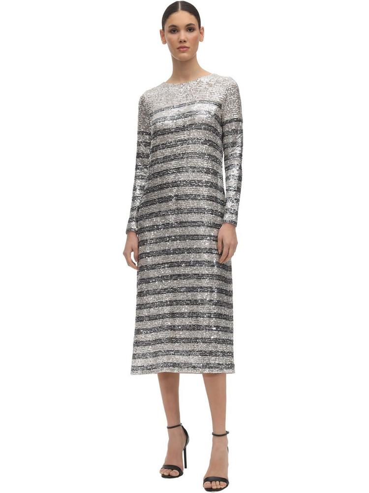 IN THE MOOD FOR LOVE Striped Sequin Midi Dress in blue / silver