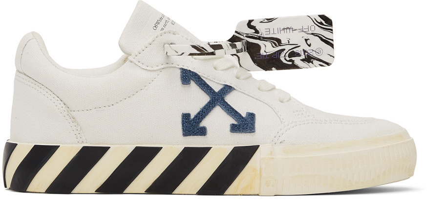 Off-White White Vulcanized Eco Canvas Sneakers in navy