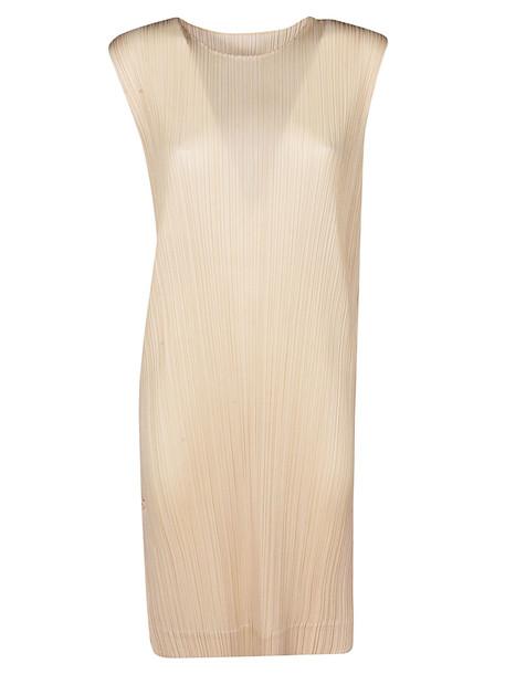 Issey Miyake Pleats Please Double Face Dress in beige