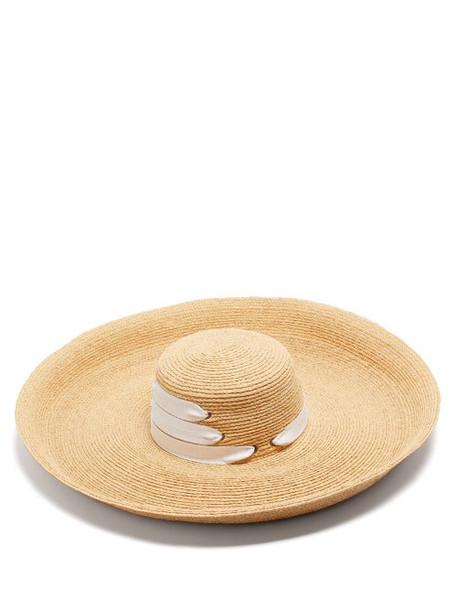 Lola Hats - Espartina Grosgrain-trim Raffia Hat - Womens - Beige White