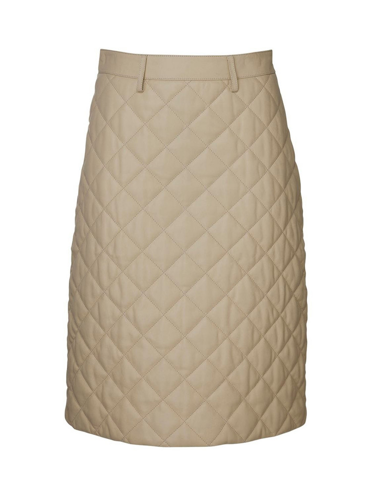 DODO BAR OR Lona Quilted Leather Midi Skirt in cream