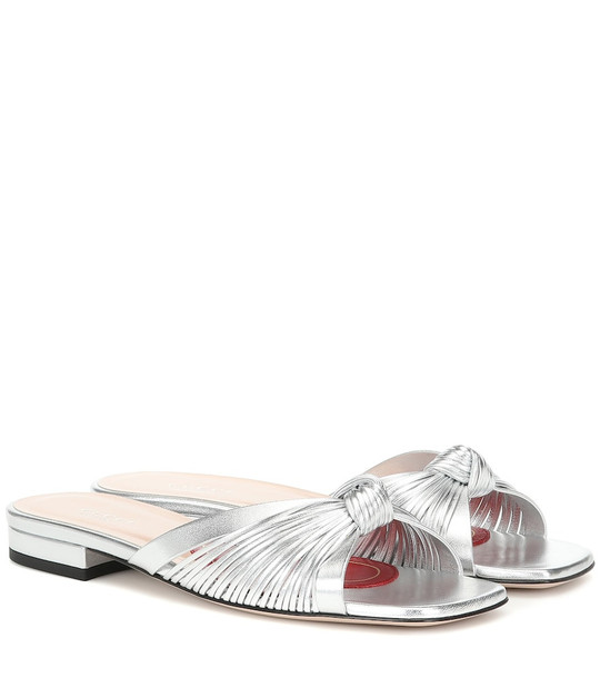 Gucci Crawford leather slide sandals in silver