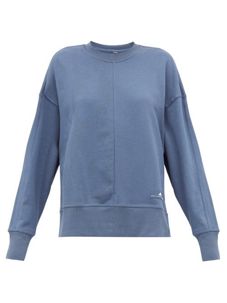 Adidas By Stella Mccartney - Zip Vent Sleeves Cotton Sweatshirt - Womens - Blue