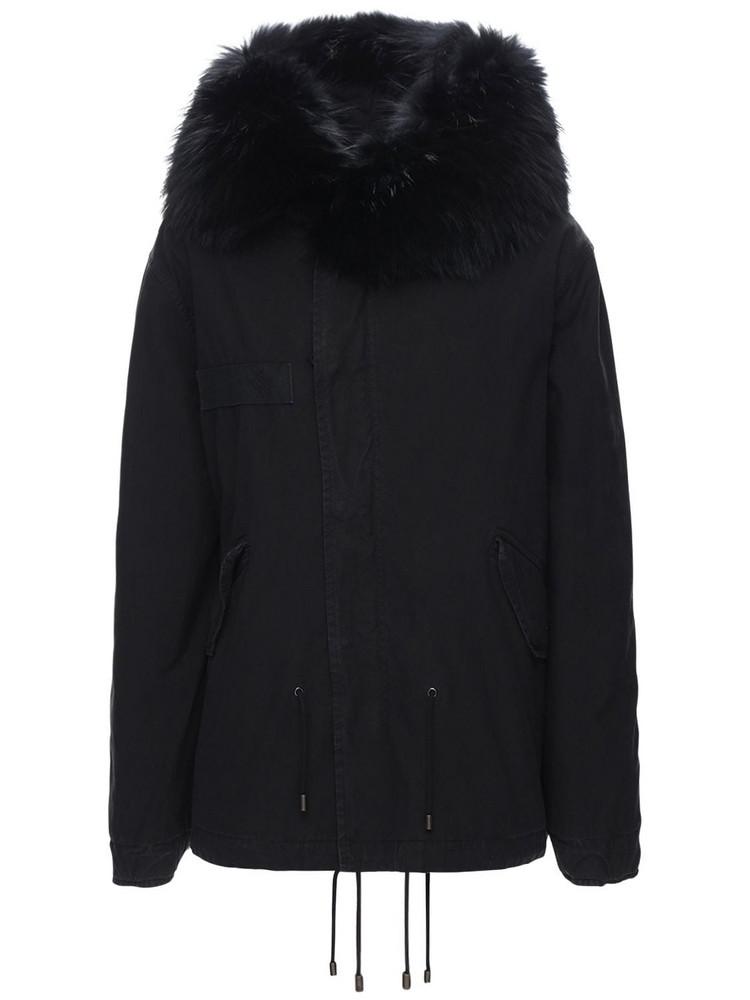 MR & MRS ITALY Mini Length Parka W/ Fur Trim in black