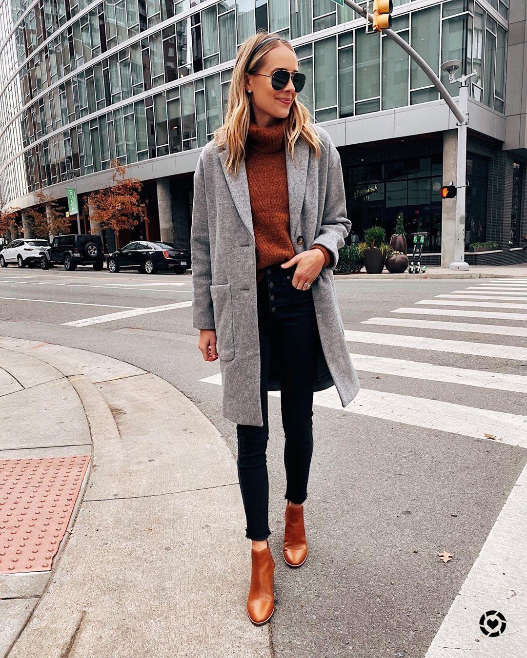 coat grey coat ankle boots black skinny jeans turtleneck sweater