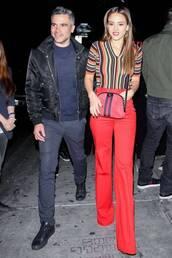 pants,jessica alba,red,top,celebrity