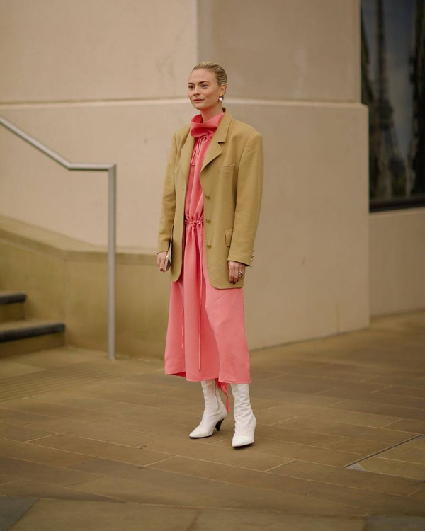 jacket blazer oversized midi dress pink dress white boots