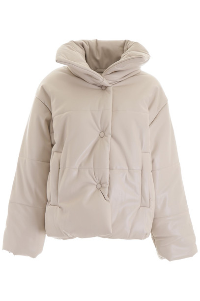 Nanushka Hide Puffer Jacket in beige
