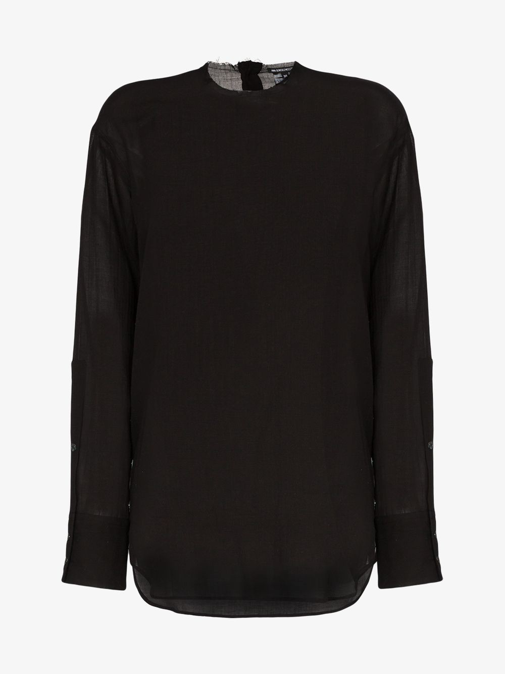 Ann Demeulemeester Relaxed fit long-sleeve sheer cashmere blend T-shirt in black