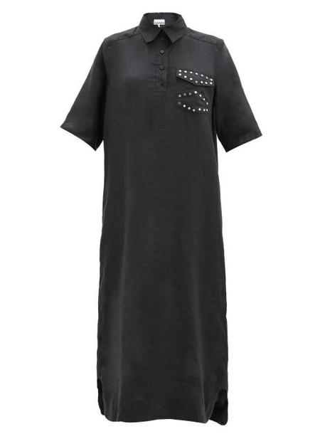 Ganni - Studded Linen Midi Shirt Dress - Womens - Black