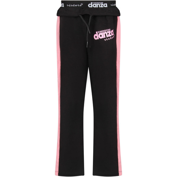 Dimensione Danza Black Girl Sweatpants With Pink Stripes And Logo