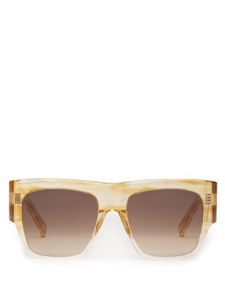 Celine Eyewear - Flat Top Acetate Sunglasses - Womens - Beige Multi