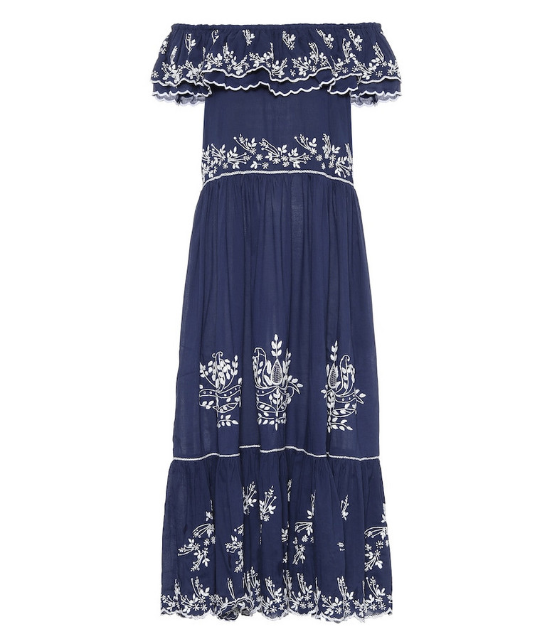 Juliet Dunn Exclusive to Mytheresa – Embroidered cotton midi dress in blue