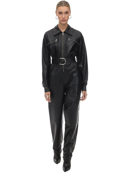 DODO BAR OR Long Belted Leather Jumpsuit in black