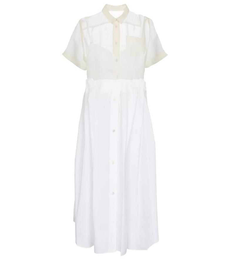 Sacai Cotton-blend midi dress in white