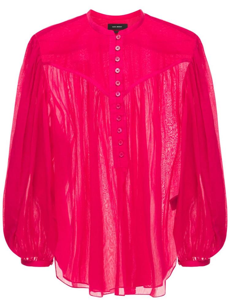 ISABEL MARANT Kiledia Cotton & Silk Voile  Shirt in fuchsia